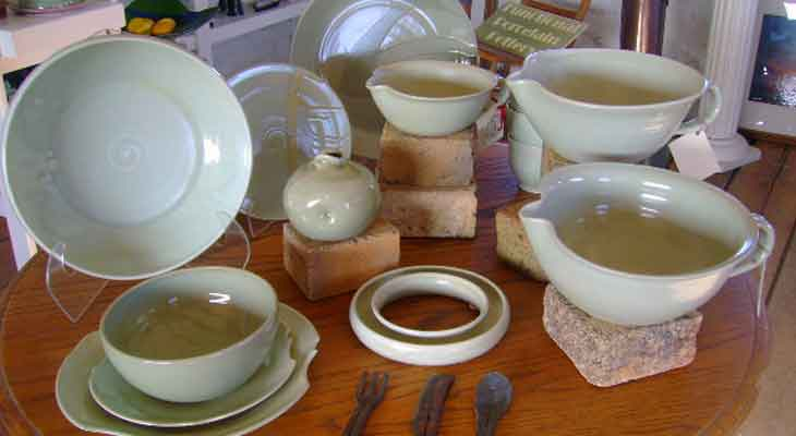 Bowls & mugs from White Oaks Pottery.